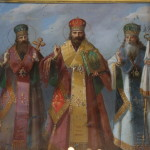 Светолучныя молнии, Василия ныне Великого, Григория Богослова, Златоустого Иоанна, да восхвалим вси