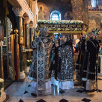 The divine services with carrying and burial of the Shroud were performed in the Lavra