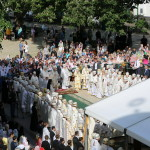 The solemn divine service performed on the square in front of the Dormition Cathedral