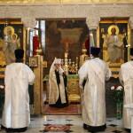 В Лазареву субботу Наместник Лавры возглавил богослужения в Трапезном храме